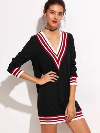 Black Striped Trim V-neckline Knit Dress