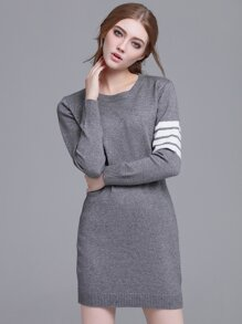 Grey Striped Long Sleeve Sweater Dress