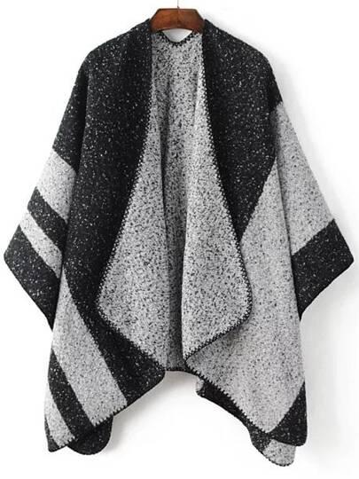 Black Color Block Shawl Collar Poncho Sweater