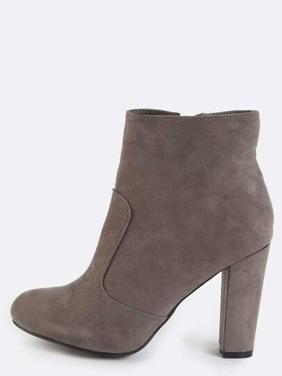 Faux Suede Chunky Heel Booties GREY