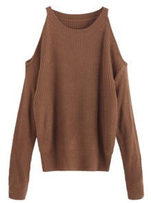 Brown Open Shoulder Knit Sweater