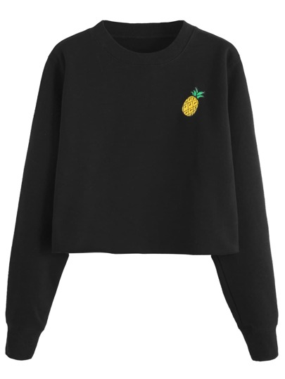 Black Pineapple Embroidered Crop Sweatshirt