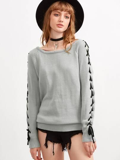 Jersey manga raglán con cordón - gris