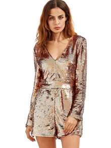 Rose Gold Long Sleeve Deep V Neck Sequined Romper