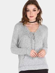 Peppered Lace Up Hoodie Sweater GREY