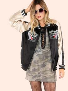 Satin Color Contrast Lucky Koi Fish Bomber Jacket BLACK