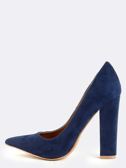 Suede Chunky Heel Pumps BLUE