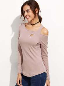 Pink Cut Out Slim Long Sleeve T-shirt