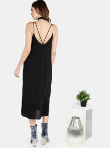 Chiffon Midi Cami Dress BLACK