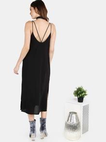 Chiffon Midi Cami Dress BLACK
