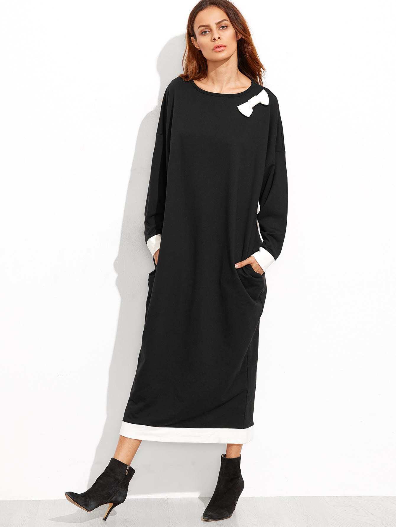 Contrast Bow Sweatshirt Dress With PocketsContrast Bow Sweatshirt Dress With Pockets<br><br>color: Black<br>size: L,M,S,XS