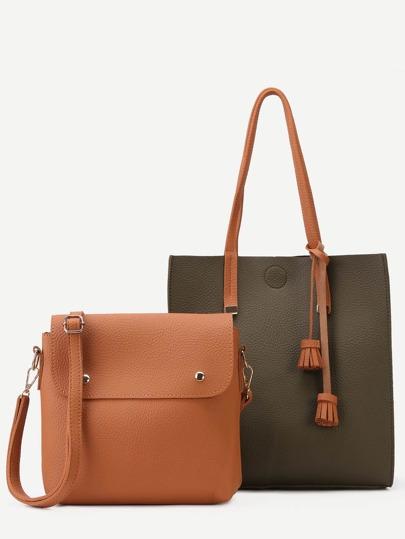Green PU Tassel Trim Tote Bag With Crossbody Bag