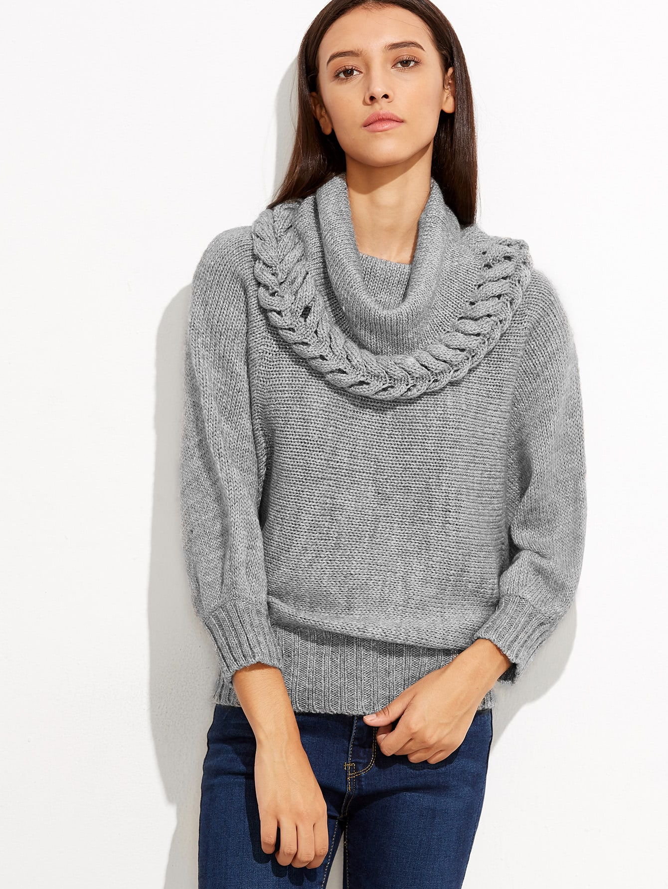 Grey Cowl Neck Ribbed Trim Loose Sweater sweater160915458