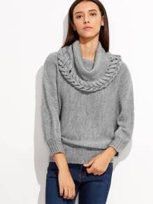 Jersey holgado con cuello alto vuelto - gris