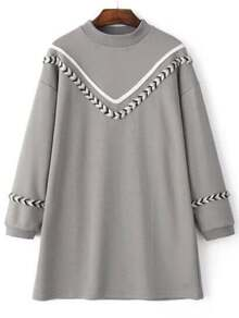 Grey Chevron Pattern Crew Neck Sweatshirt Dress