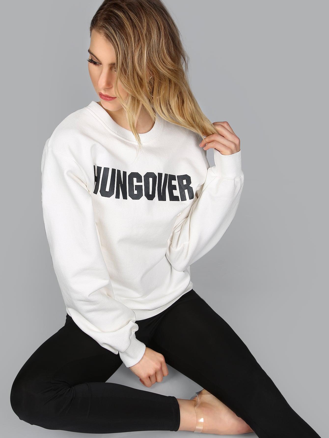White Letter Print SweatshirtWhite Letter Print Sweatshirt<br><br>color: White<br>size: L,M,S,XS
