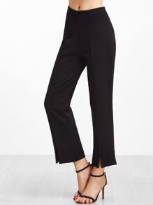 Black Split Front Straight Leg Pants