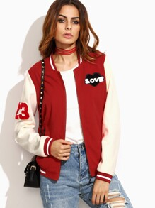 Red Striped Trim Baseball Jacket With Patch Detail