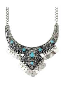Ethnic Vintage Silver Color Created Turquoise Statement Collar Necklace