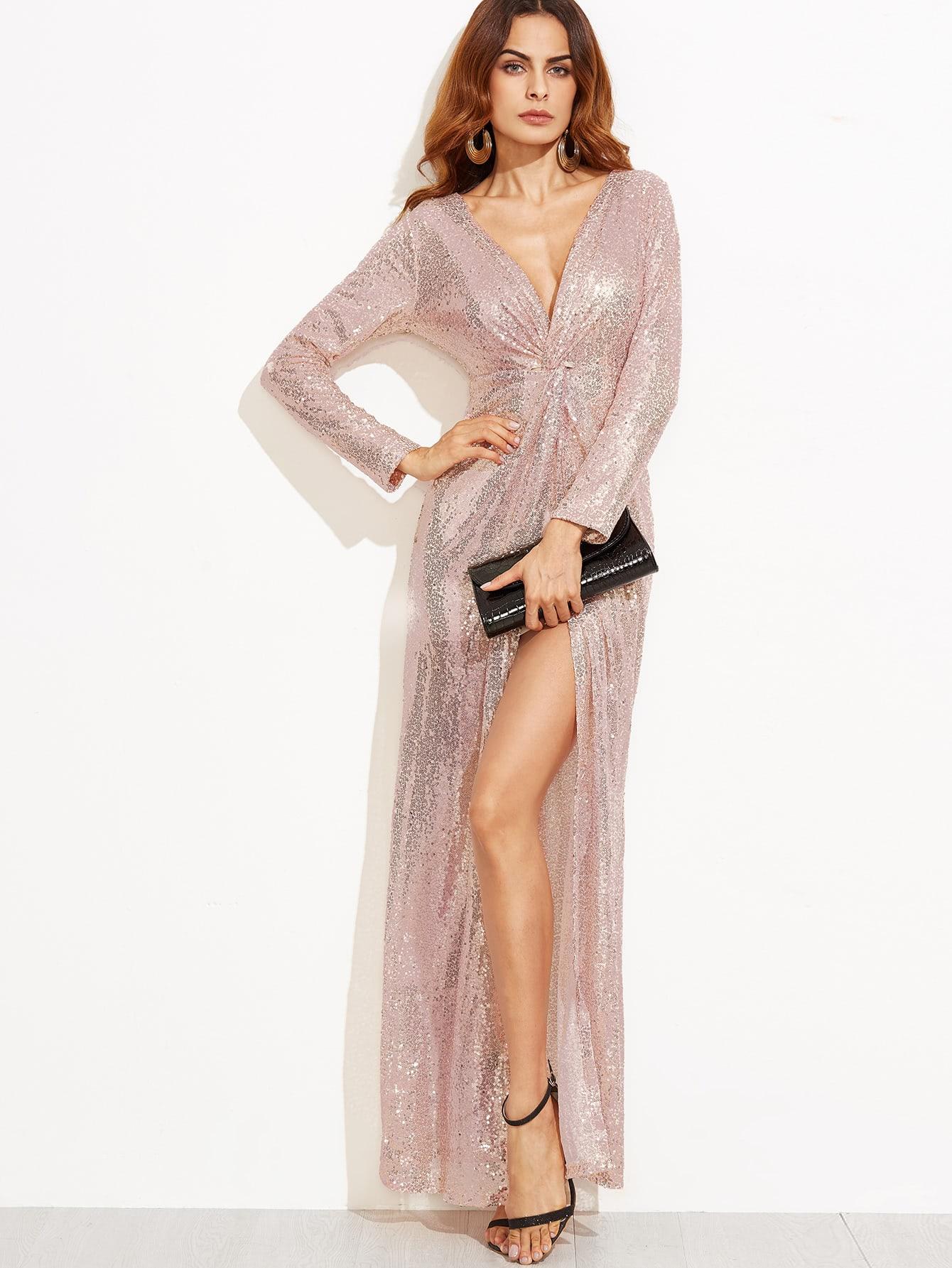 Deep V Neck Twist Front High Slit Sequin Dress dress160908302