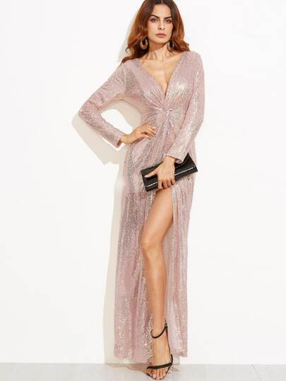 Deep V Neck Twist Front High Slit Sequin Dress