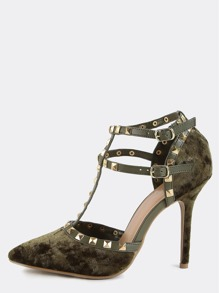 Pointy Toe Studded Straps Stilettos OLIVE