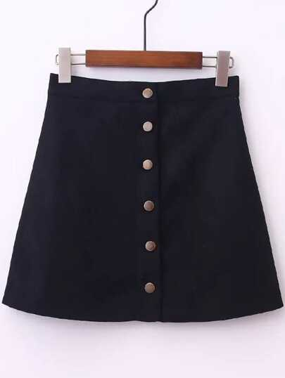 Black Single Breasted A-Line Suede Skirt