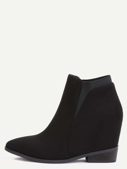 Black Faux Suede Elastic Hidden Wedge Heel Ankle Boots