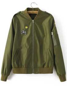 Army Green Embroidery Patch Zipper Up Flight Jacket