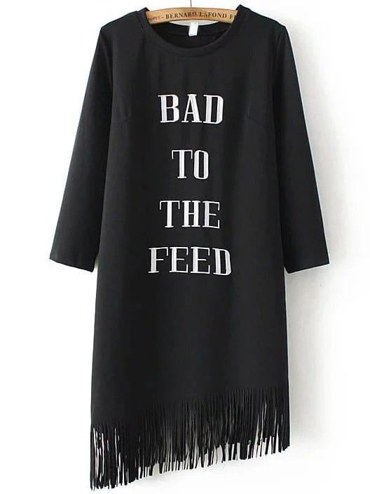 Black Letter Embroidery Fringe Hem  Dress dress160914202