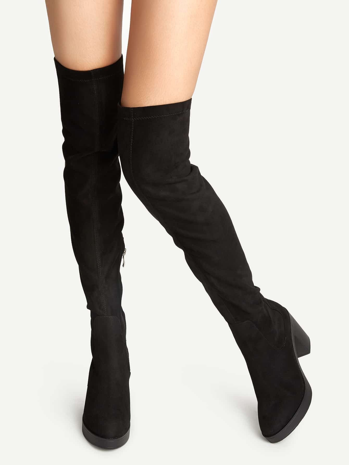 Black Suede Point Toe Over The Knee Boots shoes16090116