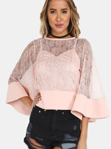 Bell Sleeved Crochet Lace Top BLUSH