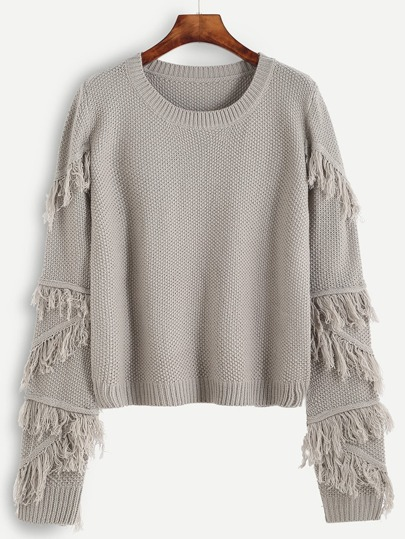 Grey Fringe Trim Textured Sweater