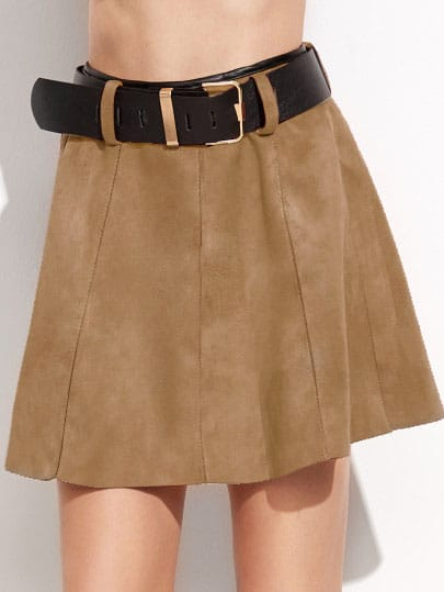 Khaki Suede A-Line Skirt With Belt
