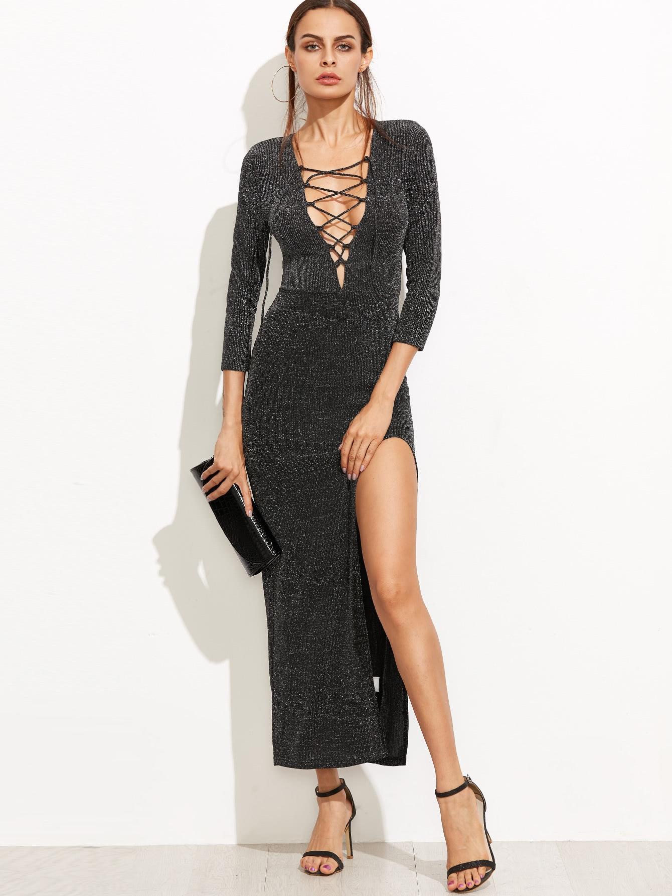 Lace Up Plunge Neck High Slit Sparkle Dress high slit lace long sheer slip dress