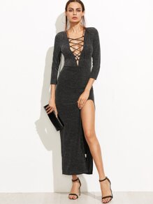 Lace Up Plunge Neck High Slit Sparkle Dress
