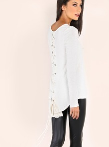 Lace Up Deep Scoop Top WHITE