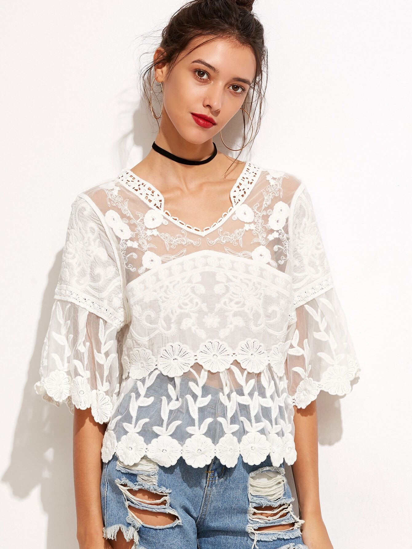 White Lace Embroidered Semi Sheer BlouseWhite Lace Embroidered Semi Sheer Blouse<br><br>color: White<br>size: one-size
