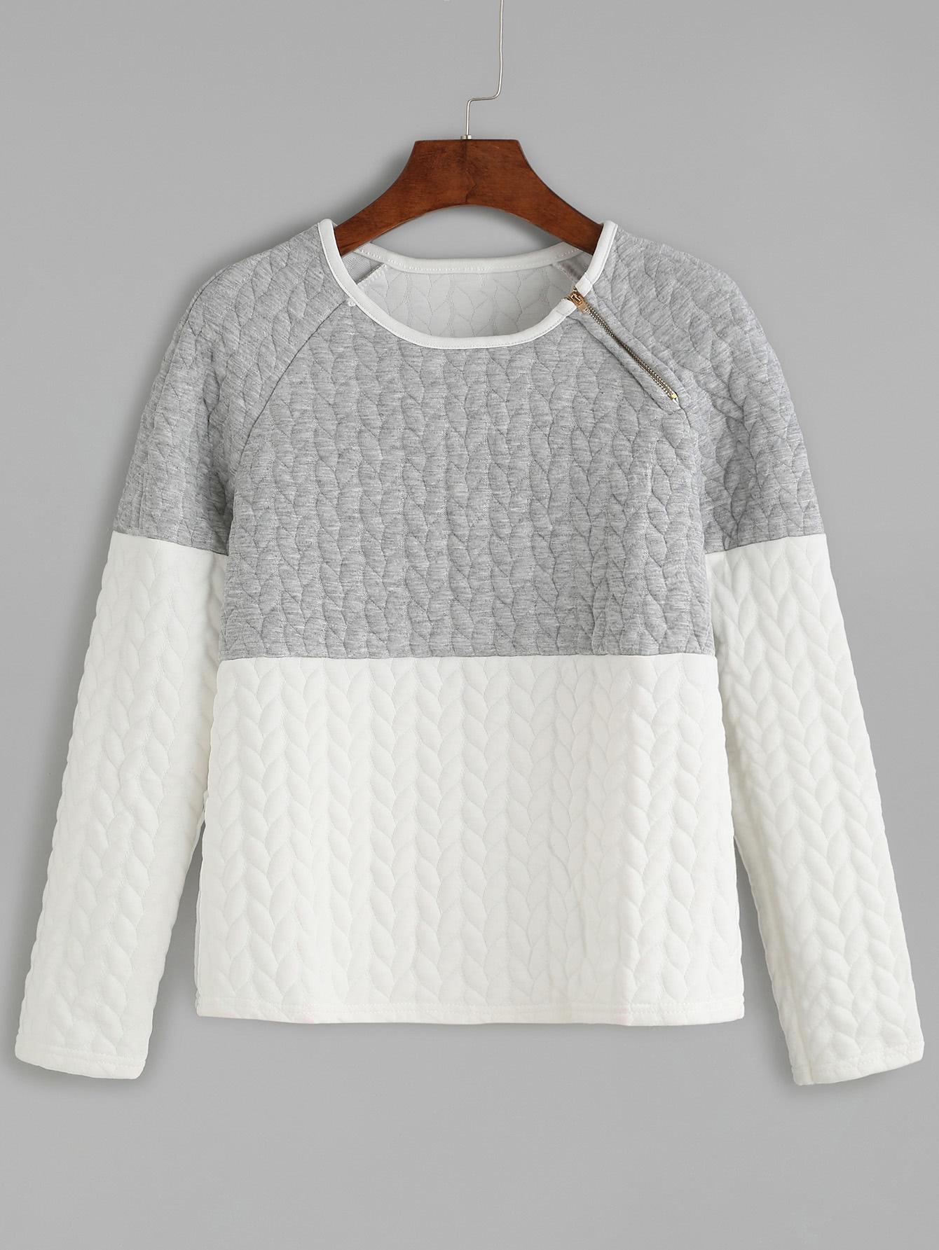 Color Block Zipper Trim Embossed Sweatshirt sweatshirt160913107