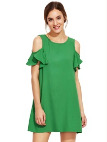 Green Cold Shoulder Ruffle Sleeves Shift Dress