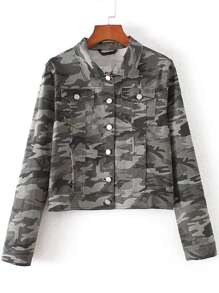 Grey Camouflage Crop Jacket With Pockets