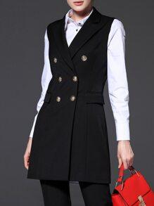 Black Lapel Zipper Pockets Vest