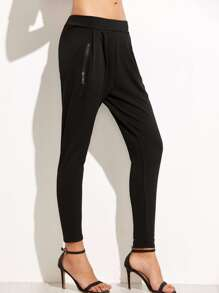 Black Elastic Waist Zipper Tapered Leg Pants