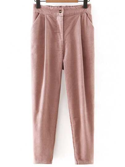 Pink Button Up Corduroy Haren Pants