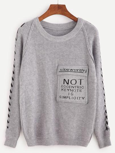 Pull imprimé slogan manche raglan avec poche - gris