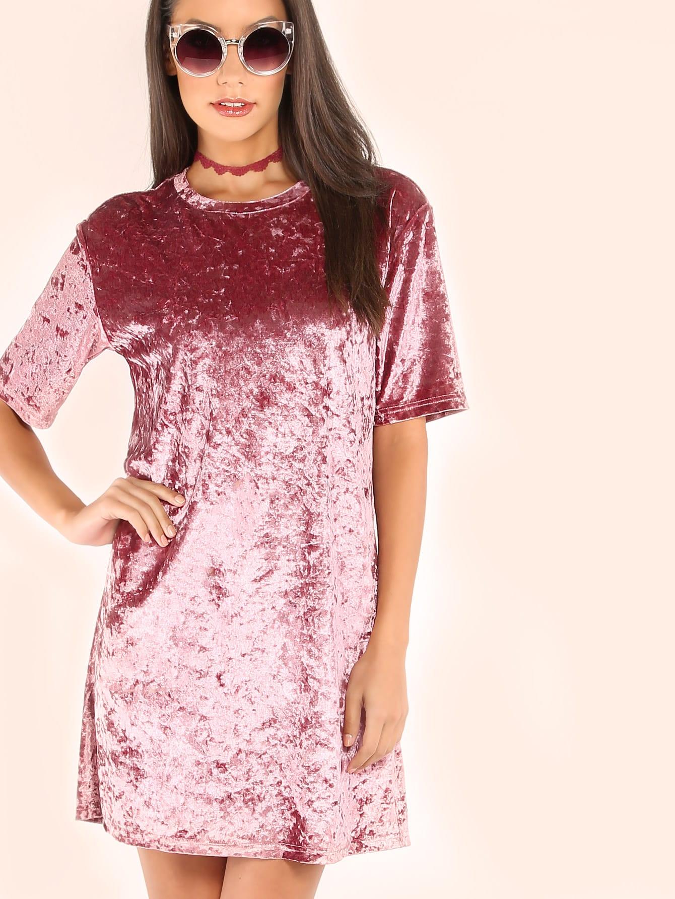 Crushed Velvet T-shirt Dress mini crushed velvet tunic straight shirt dress