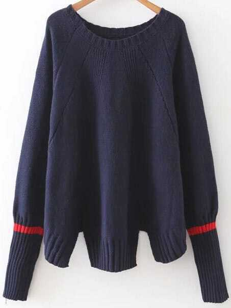 Navy Ribbed Trim Slit Raglan Sleeve Sweater sweater160909214