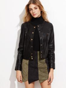 Black Button Up PU Jacket With Pockets
