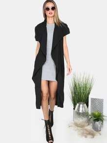Black Lapel Cutaway Sleeve Long Outerwear