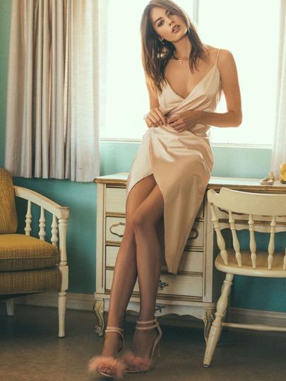 Cami Vestito Avvolto Increspato - Rosa